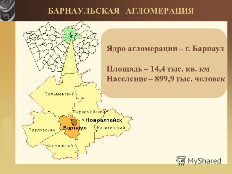 www.themegallery.com БАРНАУЛЬСКАЯ АГЛОМЕРАЦИЯ Ядро агломерации – г. БарнаулПлощадь – 14,4 тыс. кв. кмНаселение – 899,9 тыс. человек
