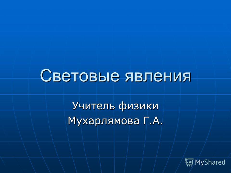 Световые явления Учитель физики Мухарлямова Г.А.