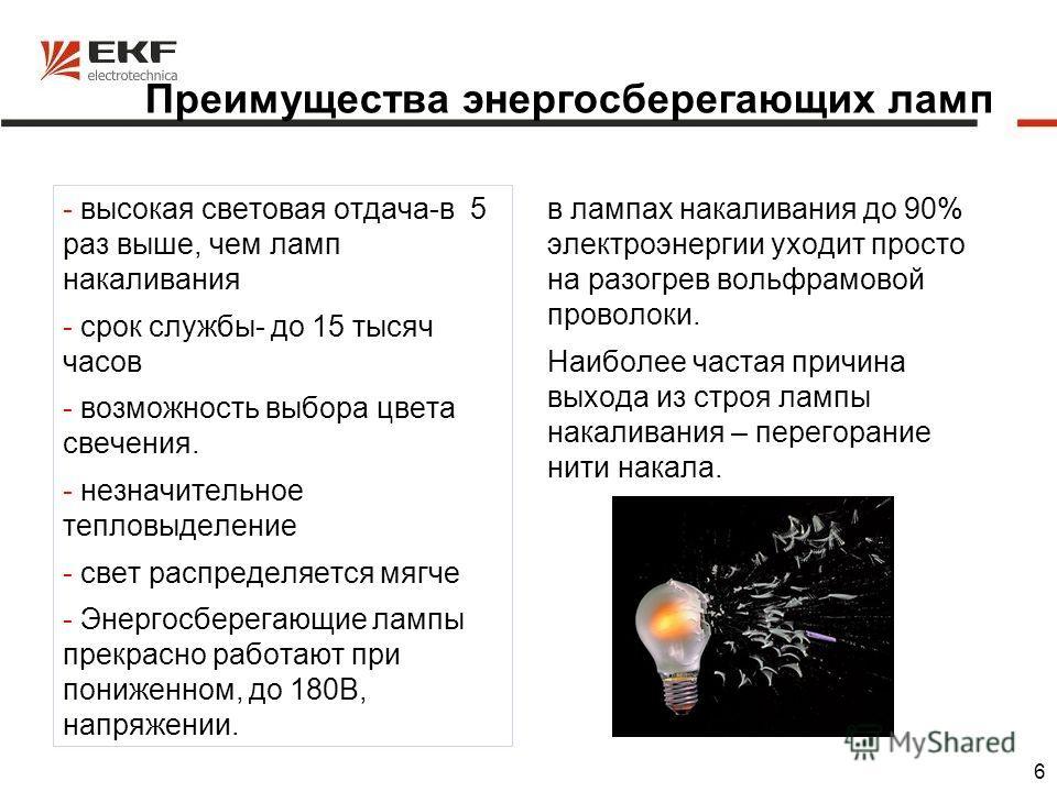 6 Преимущества энергосберегающих ламп - высокая световая отдача-в 5 раз выше, чем ламп накаливания - срок службы- до 15 тысяч часов - возможность выбора цвета свечения. - незначительное тепловыделение - свет распределяется мягче - Энергосберегающие л