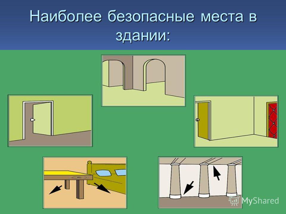 Наиболее безопасные места в здании: