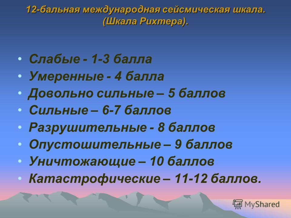 12-бальная международная сейсмическая шкала. (Шкала Рихтера). Слабые - 1-3 балла Умеренные - 4 балла Довольно сильные – 5 баллов Сильные – 6-7 баллов Разрушительные - 8 баллов Опустошительные – 9 баллов Уничтожающие – 10 баллов Катастрофические – 11-