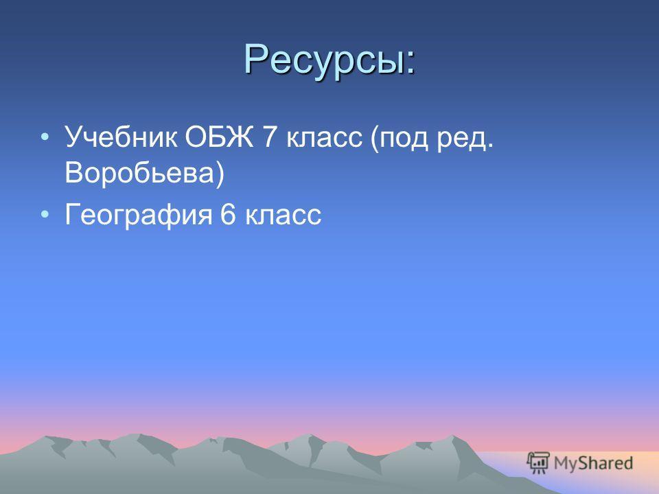 Ресурсы: Учебник ОБЖ 7 класс (под ред. Воробьева) География 6 класс