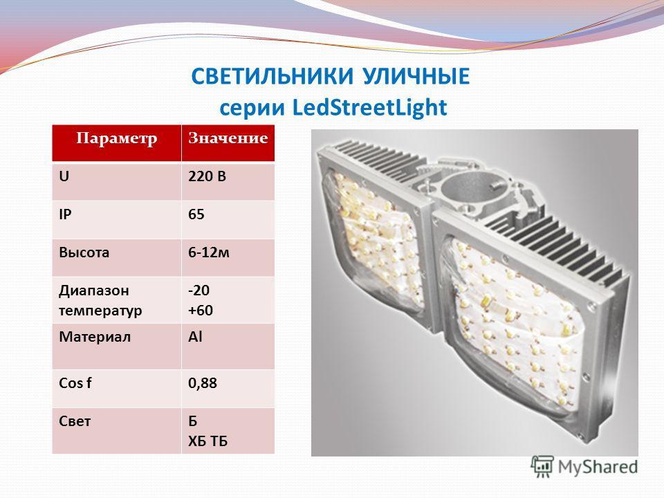 СВЕТИЛЬНИКИ УЛИЧНЫЕ серии LedStreetLight ПараметрЗначение U220 В IP65 Высота6-12м Диапазон температур -20 +60 МатериалAl Cos f0,88 СветБ ХБ ТБ