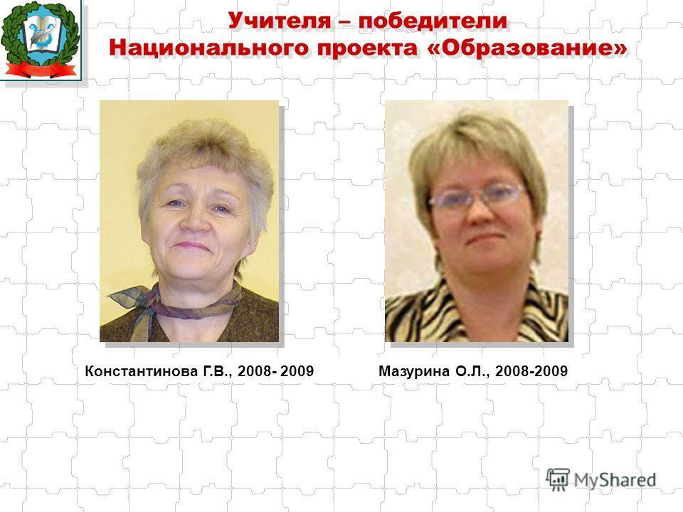 Учителя – победители Национального проекта «Образование» Константинова Г.В., 2008- 2009 Мазурина О.Л., 2008-2009
