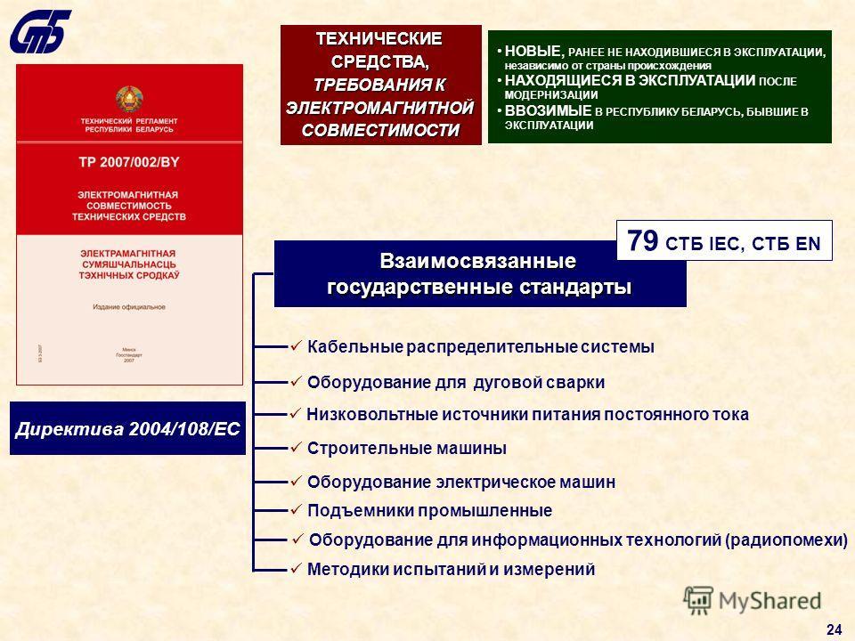 Директива 2004/108/ЕС Взаимосвязанные государственные стандарты Кабельные распределительные системы Оборудование для дуговой сварки Строительные машины Оборудование электрическое машин Подъемники промышленные Методики испытаний и измерений Низковольт