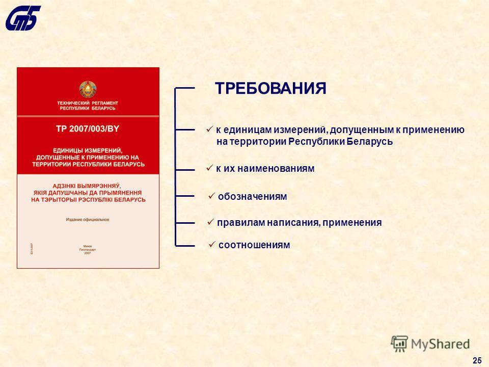 к единицам измерений, допущенным к применению на территории Республики Беларусь к их наименованиям ТРЕБОВАНИЯ обозначениям соотношениям правилам написания, применения 25