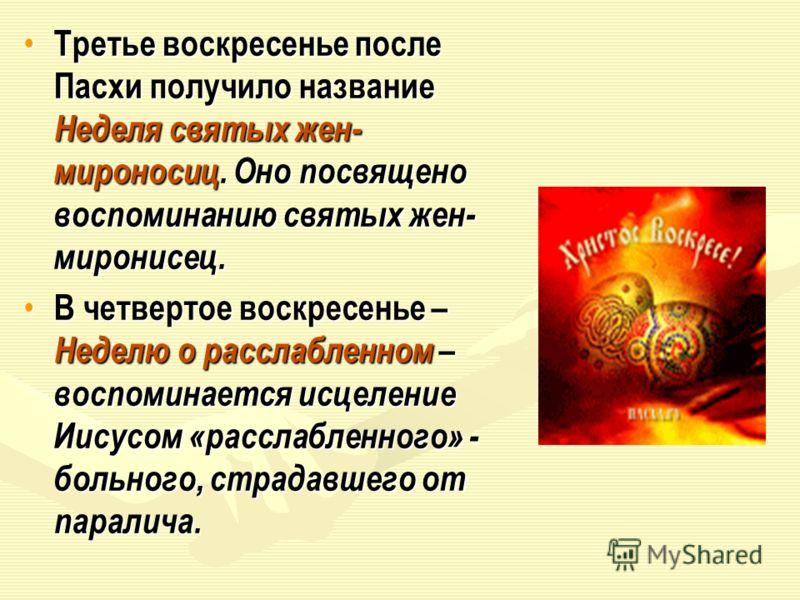 Третье воскресенье после Пасхи получило название Неделя святых жен- мироносиц. Оно посвящено воспоминанию святых жен- миронисец. Третье воскресенье после Пасхи получило название Неделя святых жен- мироносиц. Оно посвящено воспоминанию святых жен- мир