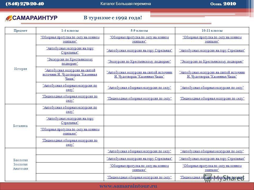 Каталог Большая перемена В туризме с 1992 года! www.samaraintour.ru Осень 2010 Предмет1-4 классы5-9 классы10-11 классы История