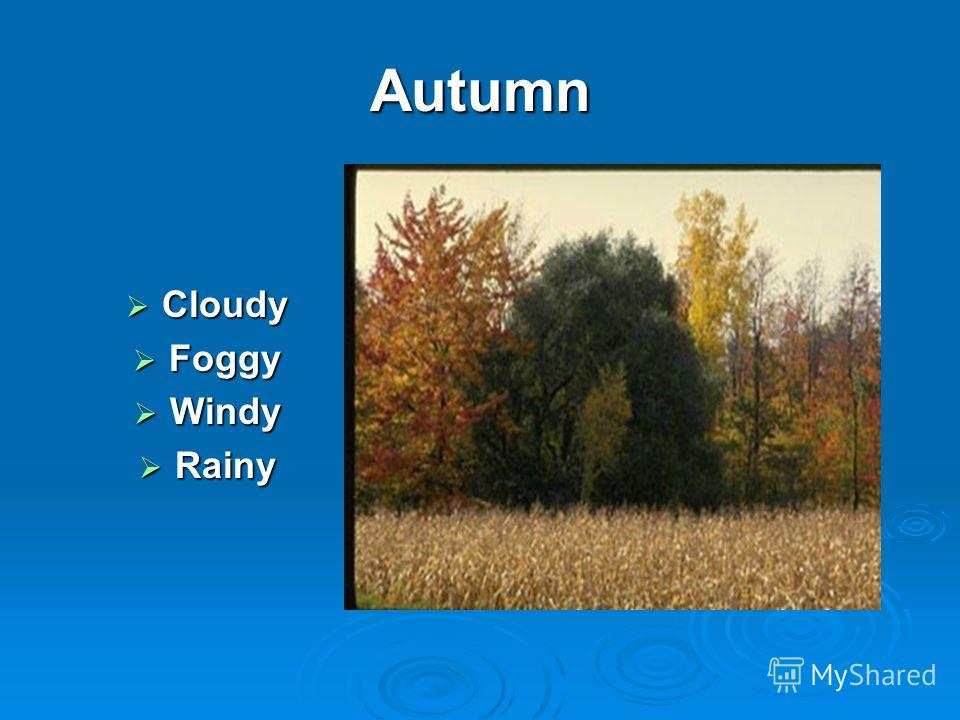 Autumn Cloudy Cloudy Foggy Foggy Windy Windy Rainy Rainy