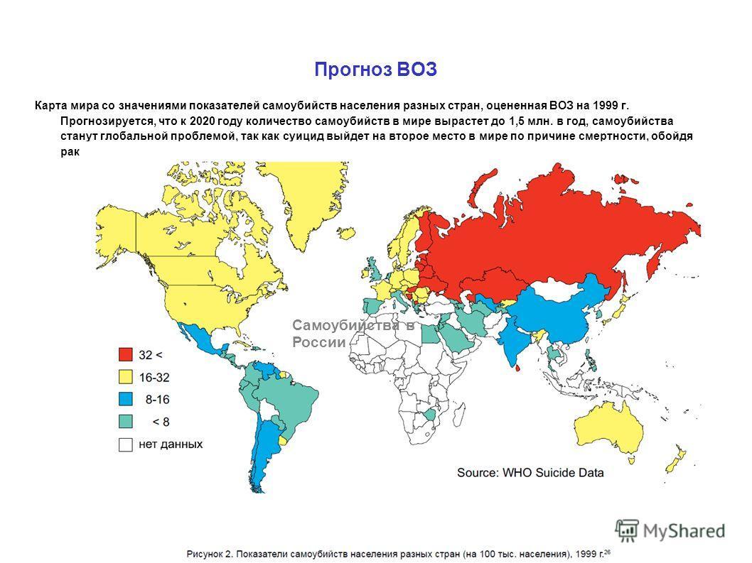 Прогноз ВОЗ Карта мира со значениями показателей самоубийств населения разных стран, оцененная ВОЗ на 1999 г. Прогнозируется, что к 2020 году количество самоубийств в мире вырастет до 1,5 млн. в год, самоубийства станут глобальной проблемой, так как