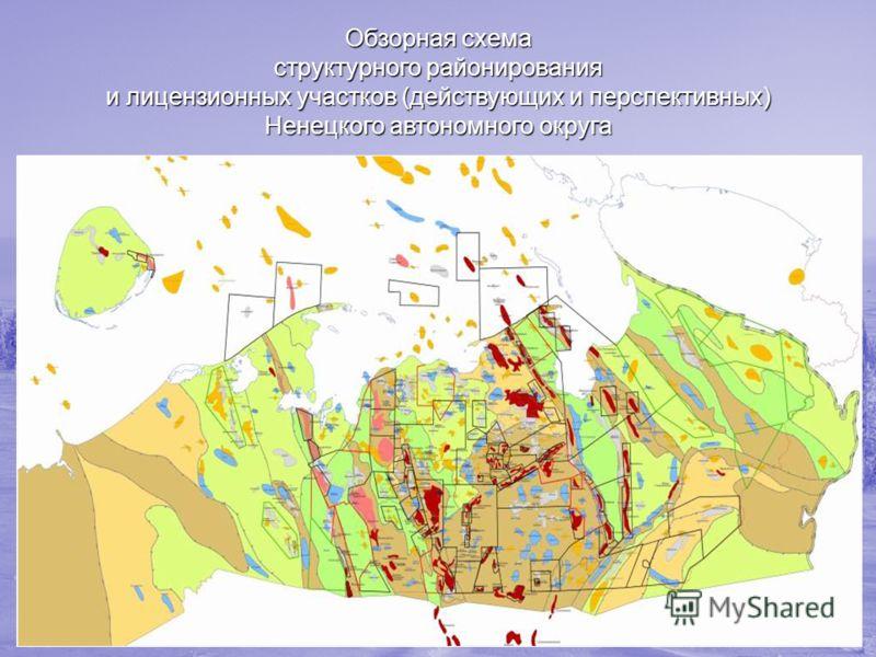 Обзорная схема структурного районирования и лицензионных участков (действующих и перспективных) Ненецкого автономного округа