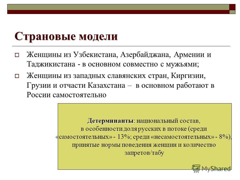 Страновые модели Женщины из Узбекистана, Азербайджана, Армении и Таджикистана - в основном совместно с мужьями; Женщины из западных славянских стран, Киргизии, Грузии и отчасти Казахстана – в основном работают в России самостоятельно Детерминанты Дет