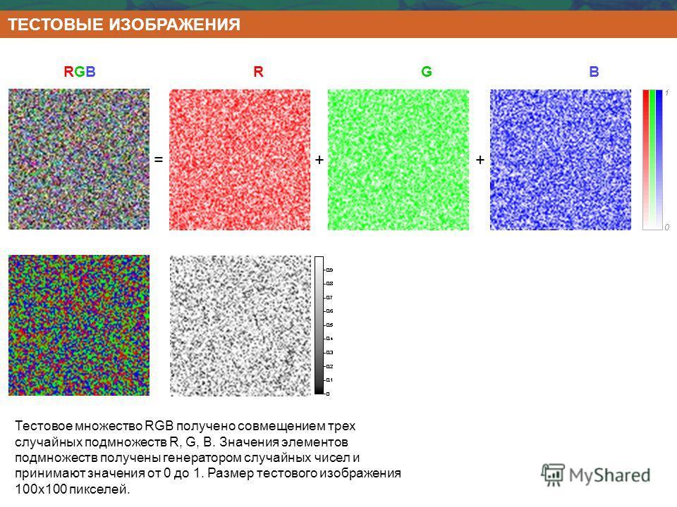 Тестовое множество RGB получено совмещением трех случайных подмножеств R, G, B. Значения элементов подмножеств получены генератором случайных чисел и принимают значения от 0 до 1. Размер тестового изображения 100х100 пикселей. ТЕСТОВЫЕ ИЗОБРАЖЕНИЯ RG