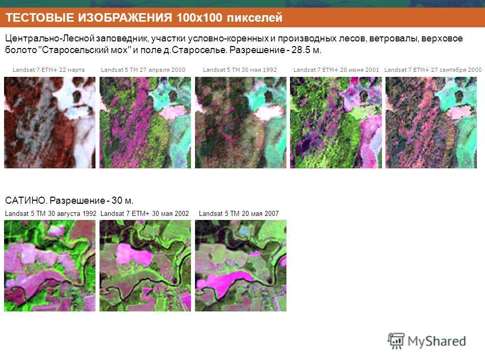 ТЕСТОВЫЕ ИЗОБРАЖЕНИЯ 100х100 пикселей Landsat 7 ETM+ 22 марта Landsat 5 TM 27 апреля 2000 Landsat 5 TM 30 мая 1992 Landsat 7 ETM+ 20 июня 2001 Landsat 7 ETM+ 27 сентября 2000 Центрально-Лесной заповедник, участки условно-коренных и производных лесов,