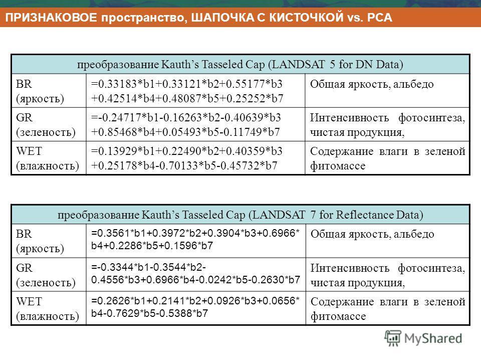 ПРИЗНАКОВОЕ пространство, ШАПОЧКА С КИСТОЧКОЙ vs. PCA преобразование Kauths Tasseled Cap (LANDSAT 5 for DN Data) BR (яркость) =0.33183*b1+0.33121*b2+0.55177*b3 +0.42514*b4+0.48087*b5+0.25252*b7 Общая яркость, альбедо GR (зеленость) =-0.24717*b1-0.162