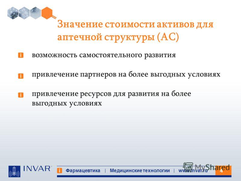 4 Фармацевтика Медицинские технологииwww.invar.ru Значение стоимости активов для аптечной структуры (АС) возможность самостоятельного развития привлечение партнеров на более выгодных условиях привлечение ресурсов для развития на более выгодных услови