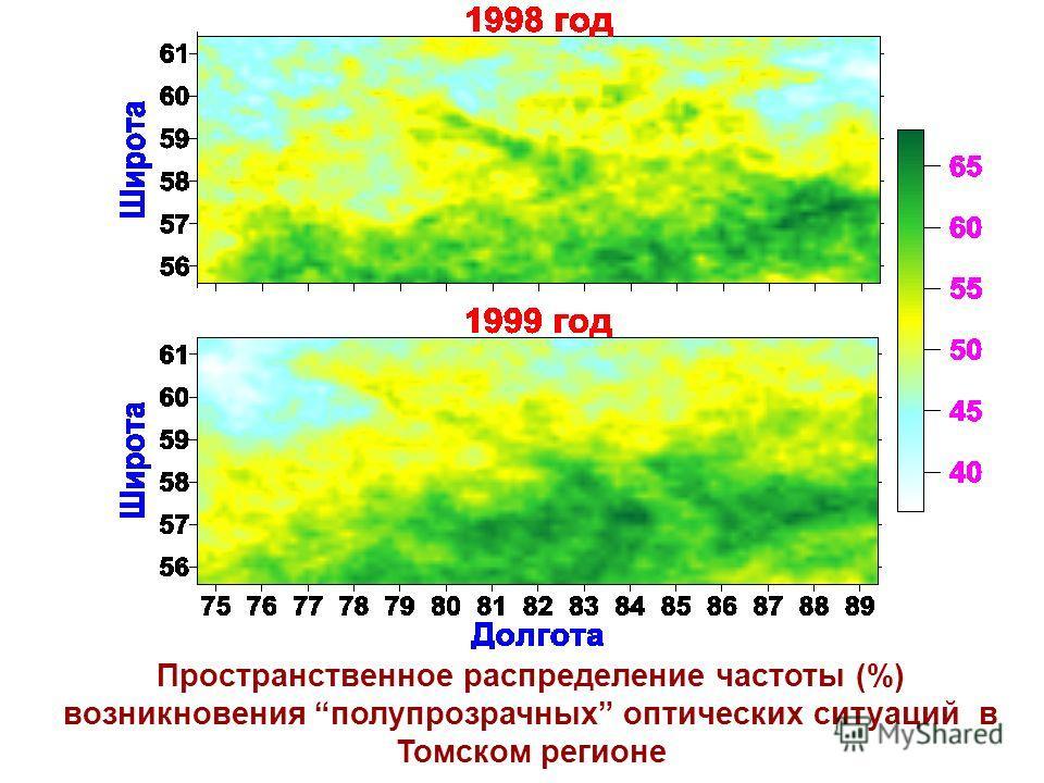 Пространственное распределение частоты (%) возникновения полупрозрачных оптических ситуаций в Томском регионе