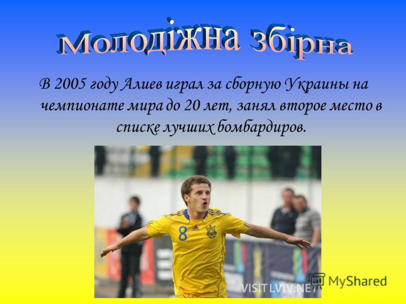 В 2005 году Алиев играл за сборную Украины на чемпионате мира до 20 лет, занял второе место в списке лучших бомбардиров.