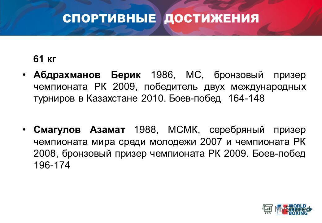 61 кг Aбдрахманов Берик 1986, МС, бронзовый призер чемпионата РК 2009, победитель двух международных турниров в Казахстане 2010. Боев-побед 164-148 Смагулов Азамат 1988, МСМК, серебряный призер чемпионата мира среди молодежи 2007 и чемпионата РК 2008