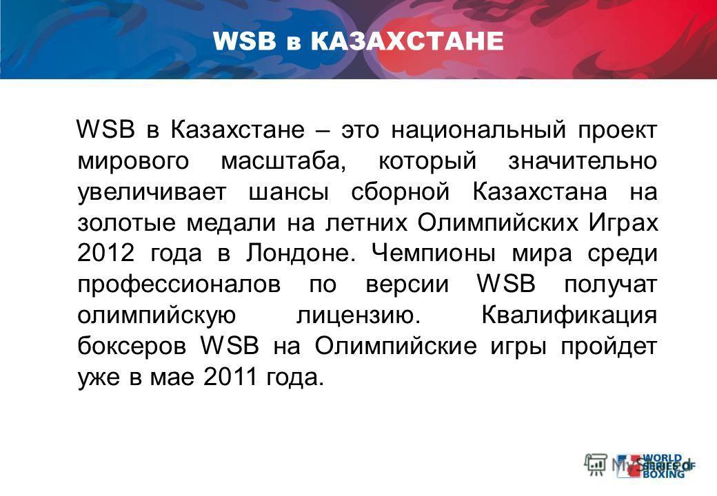 WSB в Казахстане – это национальный проект мирового масштаба, который значительно увеличивает шансы сборной Казахстана на золотые медали на летних Олимпийских Играх 2012 года в Лондоне. Чемпионы мира среди профессионалов по версии WSB получат олимпий
