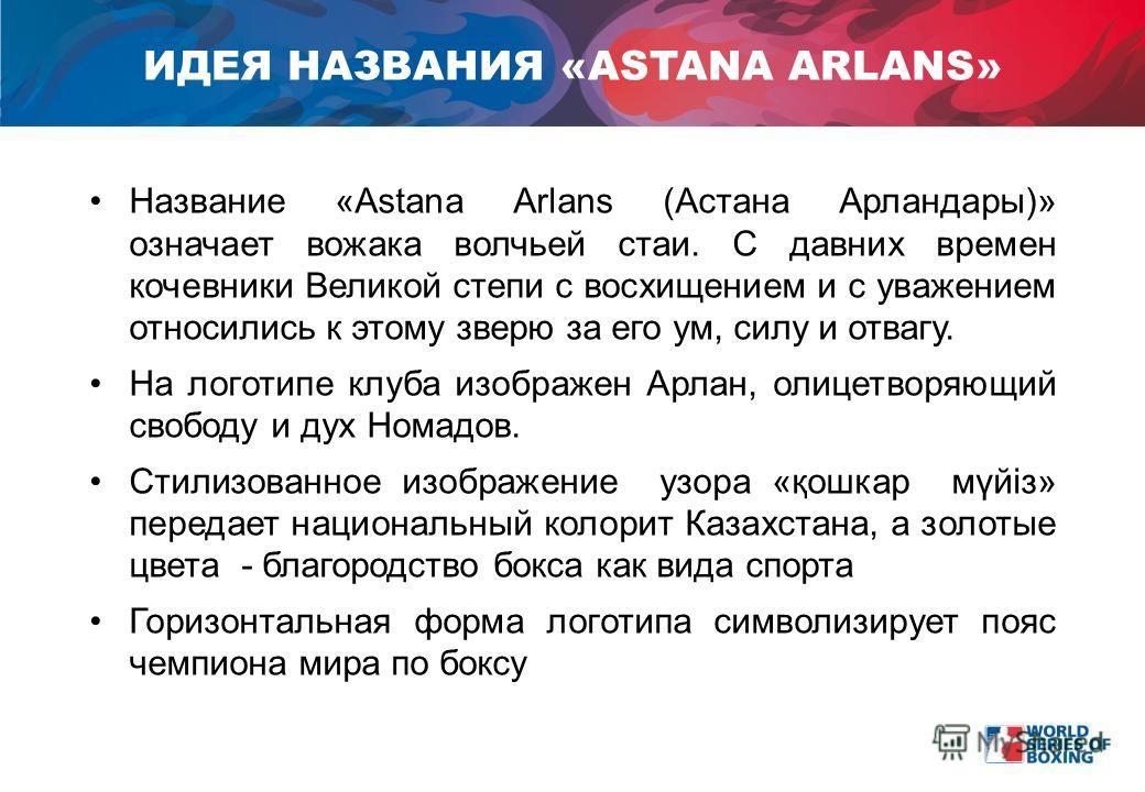 Название «Astana Arlans (Астана Арландары)» означает вожака волчьей стаи. С давних времен кочевники Великой степи с восхищением и с уважением относились к этому зверю за его ум, силу и отвагу. На логотипе клуба изображен Арлан, олицетворяющий свободу