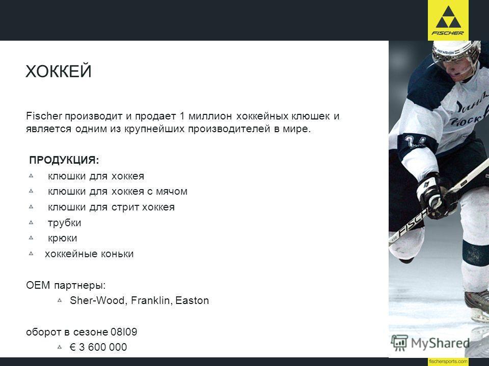 Fischer производит и продает 1 миллион хоккейных клюшек и является одним из крупнейших производителей в мире. ПРОДУКЦИЯ: клюшки для хоккея клюшки для хоккея с мячом клюшки для стрит хоккея трубки крюки хоккейные коньки OEM партнеры: Sher-Wood, Frankl