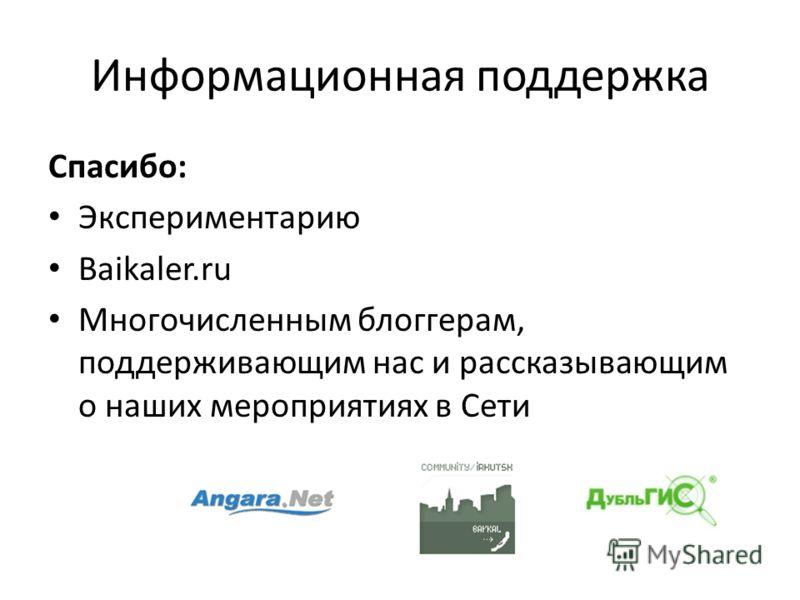 Информационная поддержка Спасибо: Экспериментарию Baikaler.ru Многочисленным блоггерам, поддерживающим нас и рассказывающим о наших мероприятиях в Сети