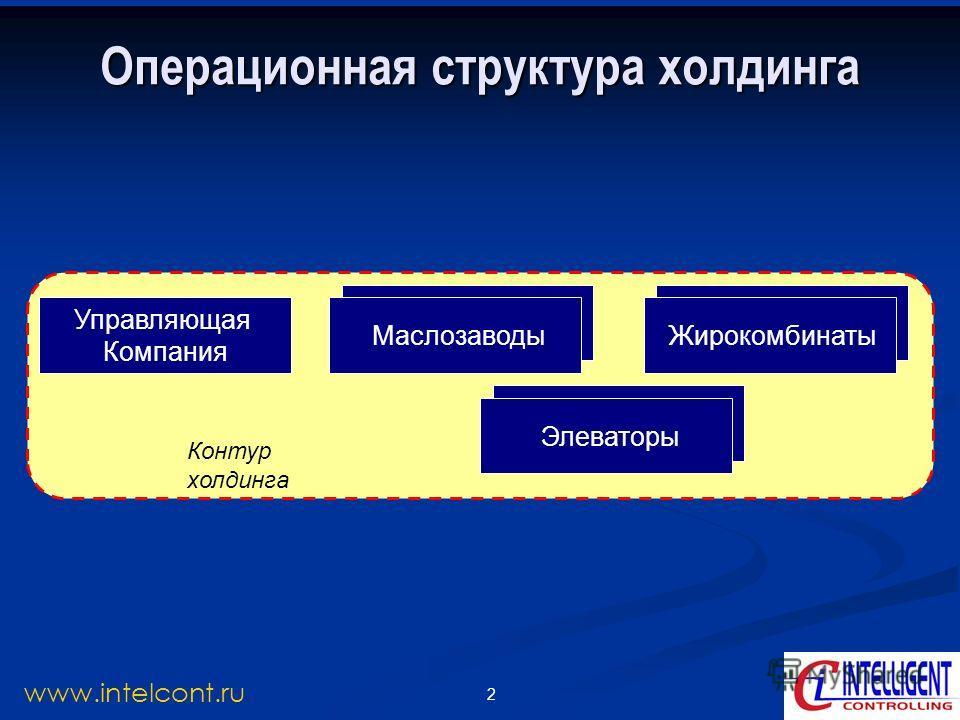 2 www.intelcont.ru Маслозаводы Операционная структура холдинга Управляющая Компания Маслозаводы Контур холдинга Жирокомбинаты Элеваторы Маслозаводы Жирокомбинаты Элеваторы