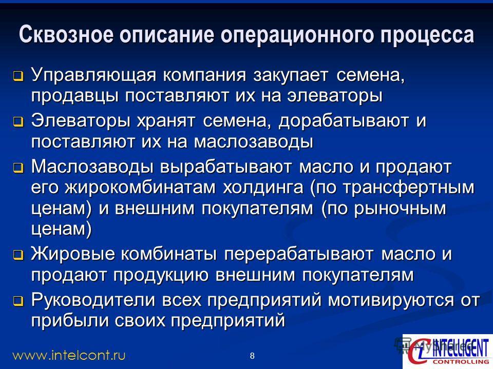 8 www.intelcont.ru Сквозное описание операционного процесса Управляющая компания закупает семена, продавцы поставляют их на элеваторы Управляющая компания закупает семена, продавцы поставляют их на элеваторы Элеваторы хранят семена, дорабатывают и по