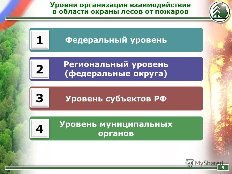 Уровни организации взаимодействия в области охраны лесов от пожаров 5 Федеральный уровень Региональный уровень (федеральные округа) Уровень субъектов РФ 1 1 Уровень муниципальных органов 2 2 3 3 4 4
