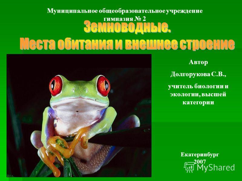 Автор Долгорукова С.В., учитель биологии и экологии, высшей категории Екатеринбург 2007 Муниципальное общеобразовательное учреждение гимназия 2