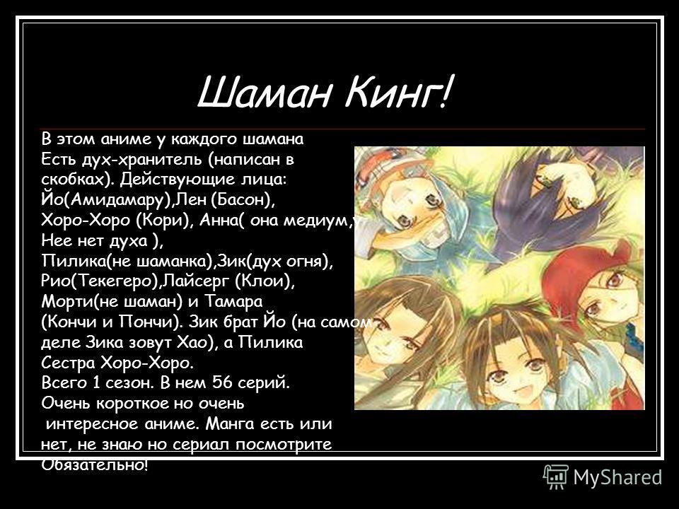 Шаман Кинг! В этом аниме у каждого шамана Есть дух-хранитель (написан в скобках). Действующие лица: Йо(Амидамару),Лен (Басон), Хоро-Хоро (Кори), Анна( она медиум,у Нее нет духа ), Пилика(не шаманка),Зик(дух огня), Рио(Текегеро),Лайсерг (Клои), Морти(