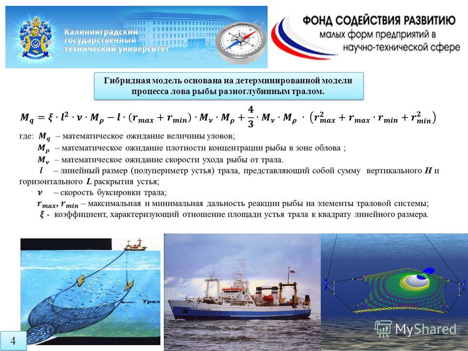 Гибридная модель основана на детерминированной модели процесса лова рыбы разноглубинным тралом. 4 4