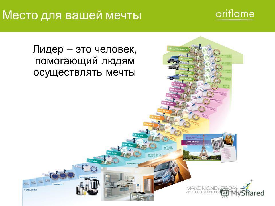 © Oriflame Cosmetics S.A. 2010 Место для вашей мечты Лидер – это человек, помогающий людям осуществлять мечты