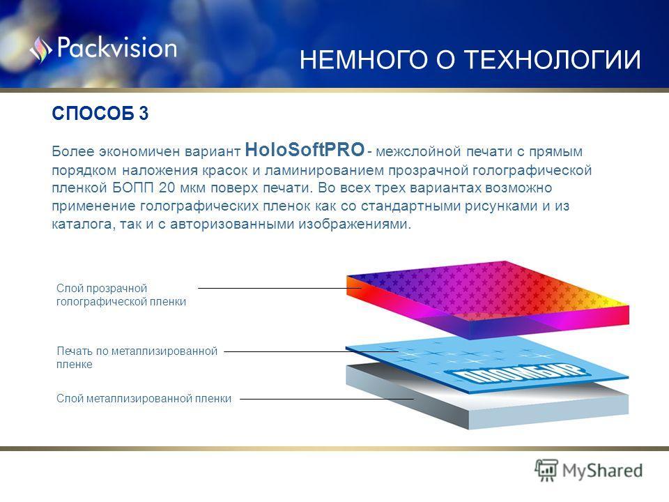 Более экономичен вариант HoloSoftPRO - межслойной печати с прямым порядком наложения красок и ламинированием прозрачной голографической пленкой БОПП 20 мкм поверх печати. Во всех трех вариантах возможно применение голографических пленок как со станда