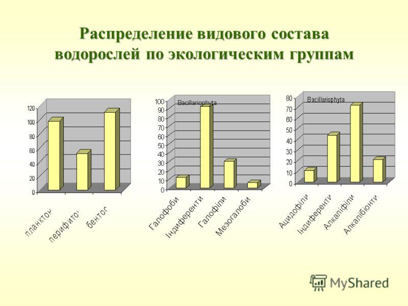 Распределение видового состава водорослей по экологическим группам