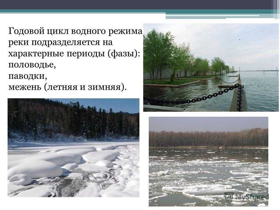 Годовой цикл водного режима реки подразделяется на характерные периоды (фазы): половодье, паводки, межень (летняя и зимняя).