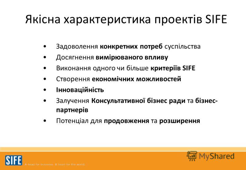 Задоволення конкретних потреб суспільства Досягнення вимірюваного впливу Виконання одного чи більше критеріїв SIFE Створення економічних можливостей Інноваційність Залучення Консультативної бізнес ради та бізнес- партнерів Потенціал для продовження т