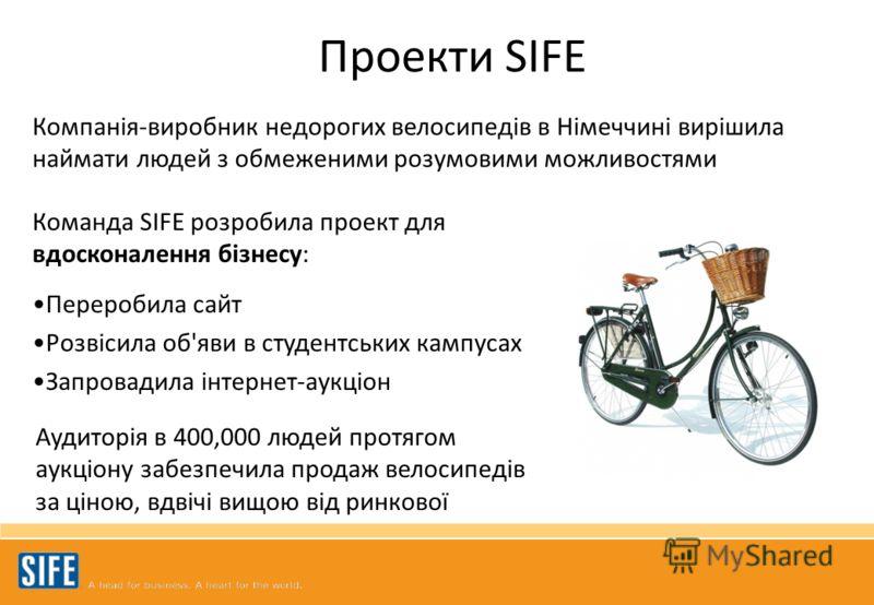 Команда SIFE розробила проект для вдосконалення бізнесу: Переробила сайт Розвісила об'яви в студентських кампусах Запровадила інтернет-аукціон Компанія-виробник недорогих велосипедів в Німеччині вирішила наймати людей з обмеженими розумовими можливос