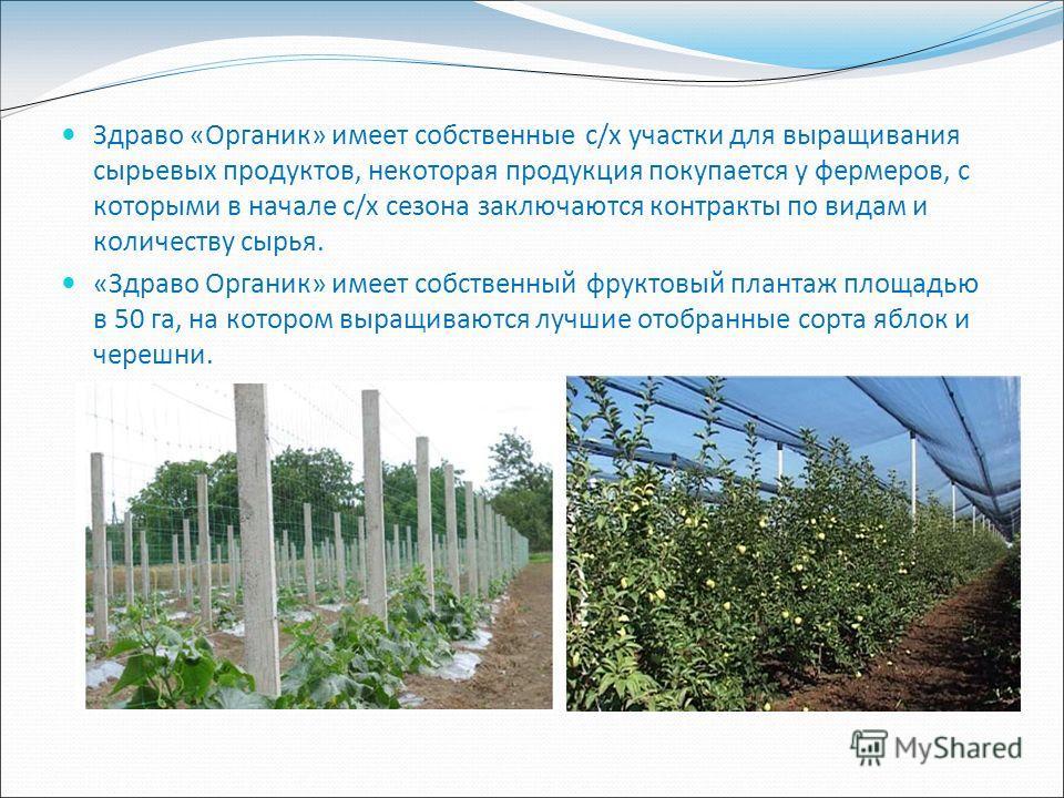 Здраво «Органик» имеет собственные с/х участки для выращивания сырьевых продуктов, некоторая продукция покупается у фермеров, с которыми в начале с/х сезона заключаются контракты по видам и количеству сырья. «Здраво Органик» имеет собственный фруктов