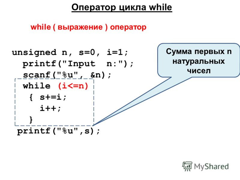 Оператор цикла while unsigned n, s=0, i=1; printf(Input n:); scanf(%u, &n); while (i
