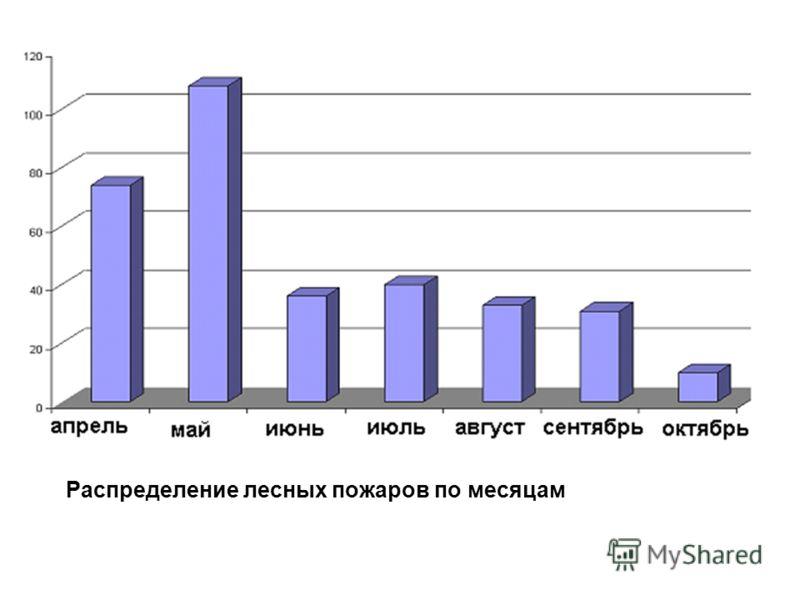 Распределение лесных пожаров по месяцам