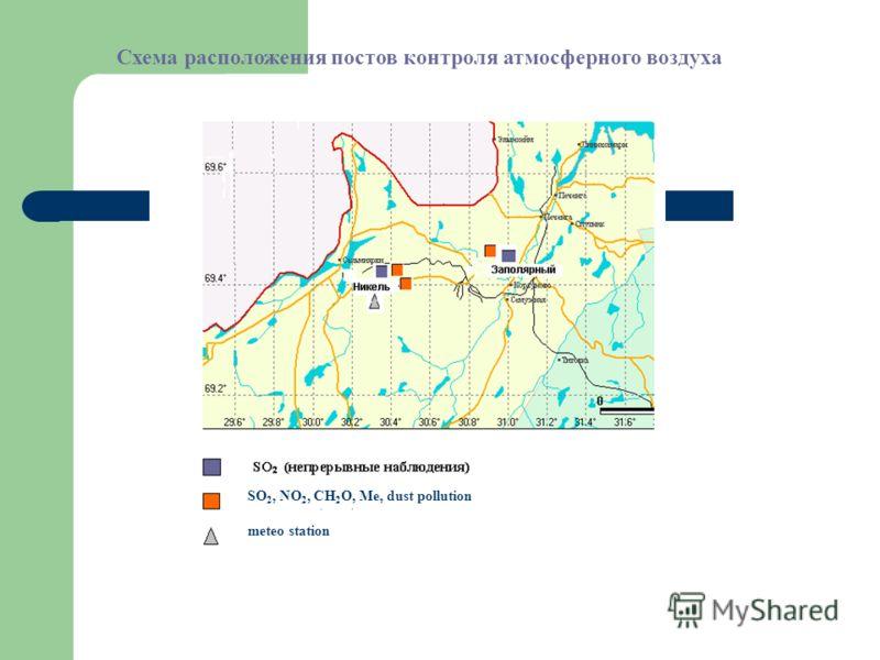 Схема расположения постов контроля атмосферного воздуха SO 2, NO 2, CH 2 O, Me, dust pollution meteo station
