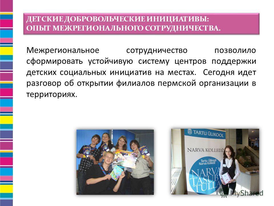 Межрегиональное сотрудничество позволило сформировать устойчивую систему центров поддержки детских социальных инициатив на местах. Сегодня идет разговор об открытии филиалов пермской организации в территориях. ДЕТСКИЕ ДОБРОВОЛЬЧЕСКИЕ ИНИЦИАТИВЫ: ОПЫТ