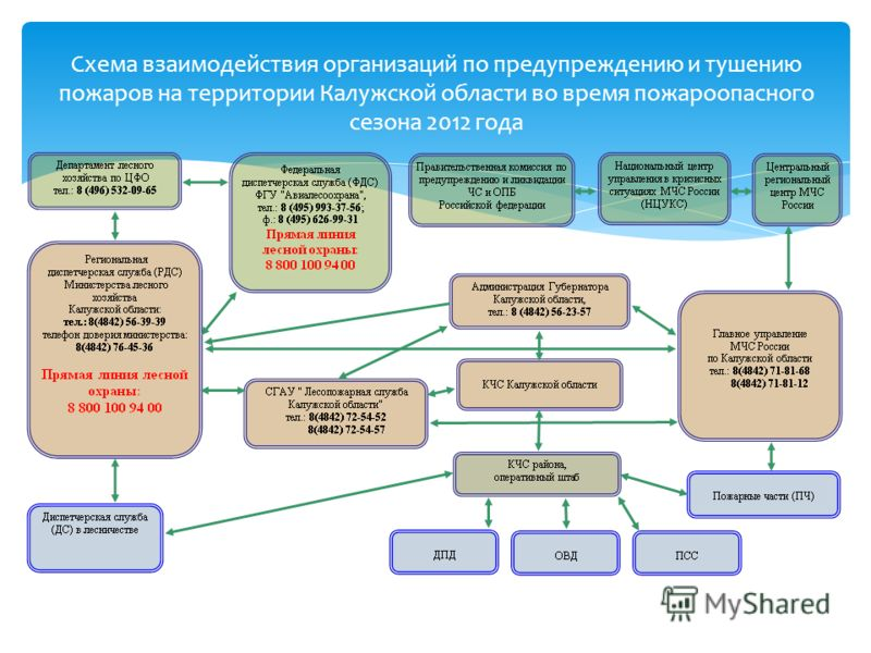 Схема взаимодействия организаций по предупреждению и тушению пожаров на территории Калужской области во время пожароопасного сезона 2012 года
