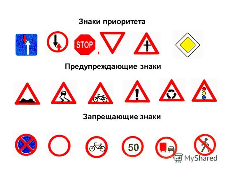 Знаки приоритета Предупреждающие знаки Запрещающие знаки