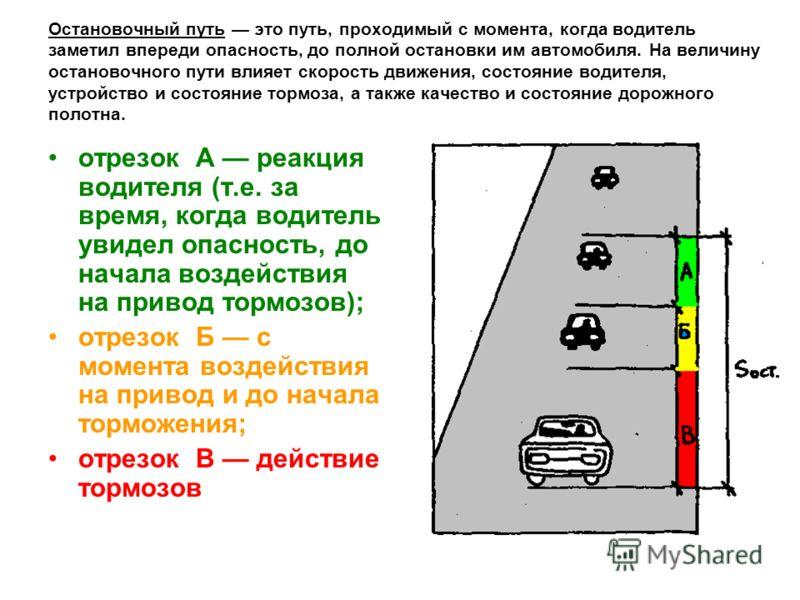 Остановочный путь это путь, проходимый с момента, когда водитель заметил впереди опасность, до полной остановки им автомобиля. На величину остановочного пути влияет скорость движения, состояние водителя, устройство и состояние тормоза, а также качест