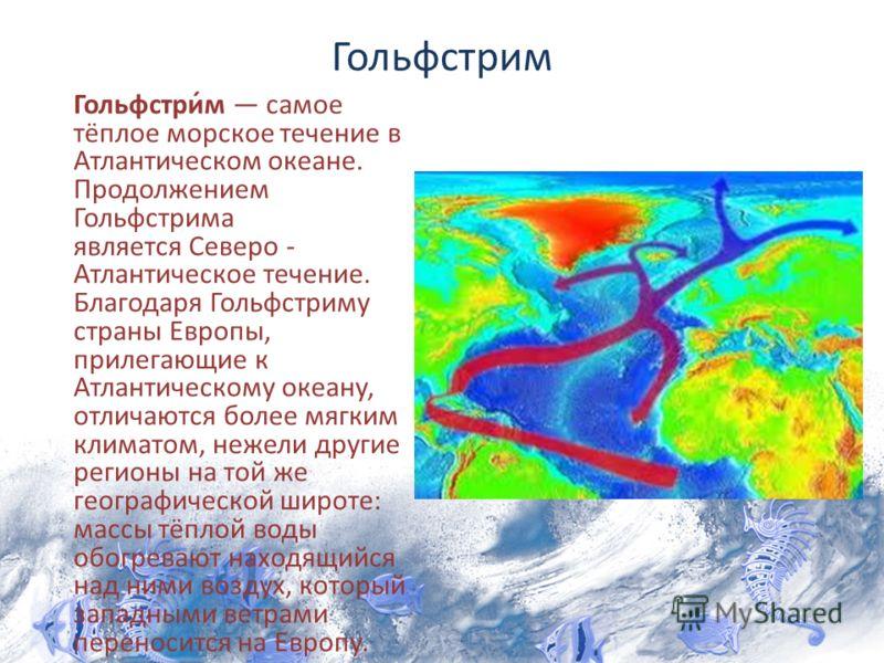 Гольфстрим Гольфстрим самое тёплое морское течение в Атлантическом океане. Продолжением Гольфстрима является Северо - Атлантическое течение. Благодаря Гольфстриму страны Европы, прилегающие к Атлантическому океану, отличаются более мягким климатом, н