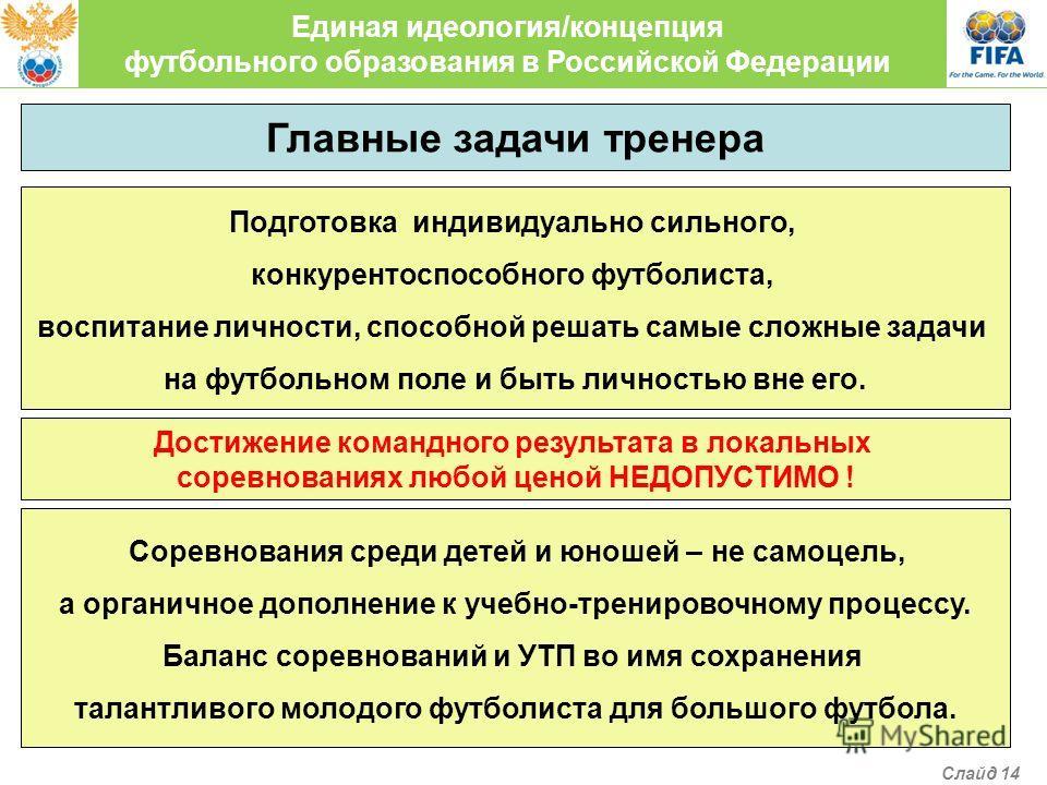 Единая идеология/концепция футбольного образования в Российской Федерации Главные задачи тренера Подготовка индивидуально сильного, конкурентоспособного футболиста, воспитание личности, способной решать самые сложные задачи на футбольном поле и быть