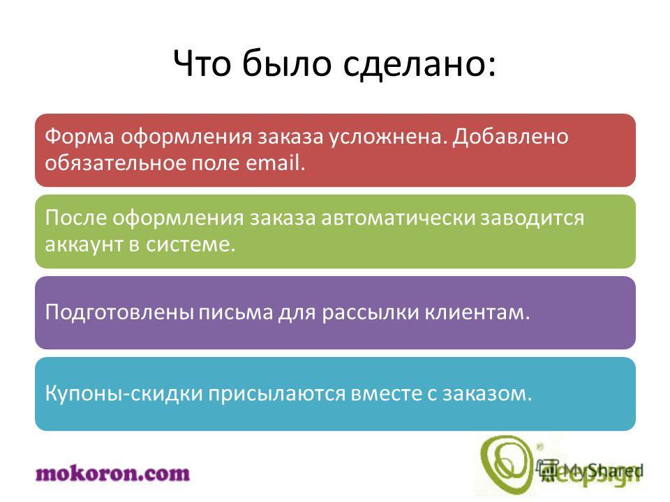 Что было сделано: Форма оформления заказа усложнена. Добавлено обязательное поле email. После оформления заказа автоматически заводится аккаунт в системе. Подготовлены письма для рассылки клиентам. Купоны-скидки присылаются вместе с заказом.